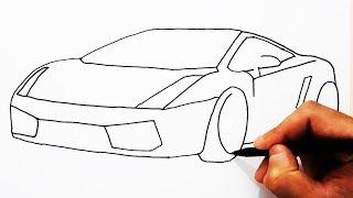 How to Draw Lamborghini / Easy Drawing Car / Çok Kolay Spor Araba Çizimi / Lamborghini Nasıl Çizilir