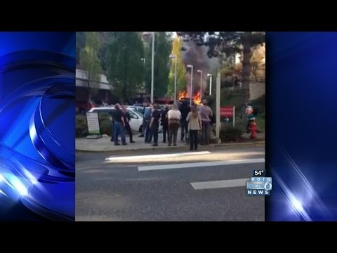 Flames engulf van in OHSU parking lot