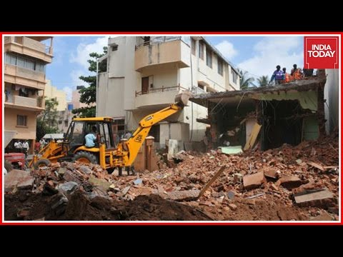 Mass Demolition Drive Along Encroached Lakes In Bangalore