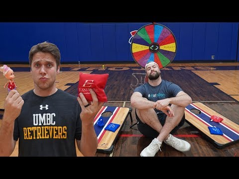 WEIRD ITEM CORNHOLE TRICK SHOT CHALLENGE! *Loser Has To ______*
