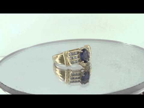 Estate 14K Yellow Gold 1.44CT Blue Sapphire & Diamond Solitaire Ring