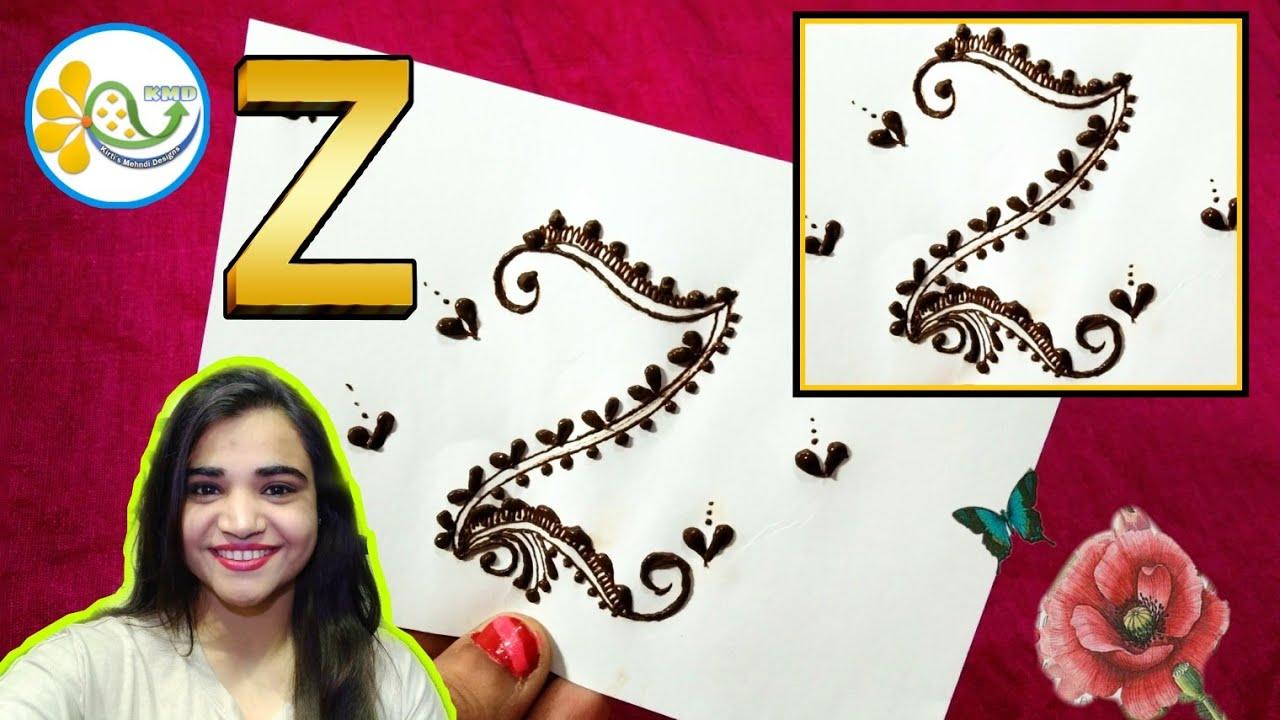 Z name henna tattoo designs , Z alphabet mehndi design for hands , Z mehndi  tattoo , मेहंदी डिजाइन