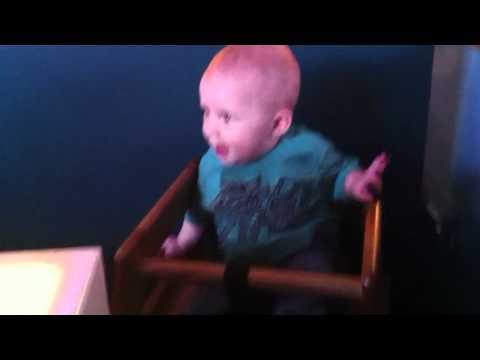 Kasen's first time in a restaurant high chair