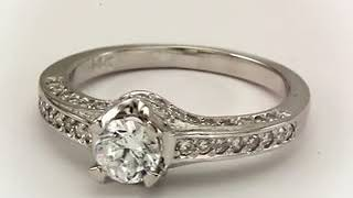 Diamond Engagement Ring Art Deco Rings With 0 50ct And Pave Diamonds Shank