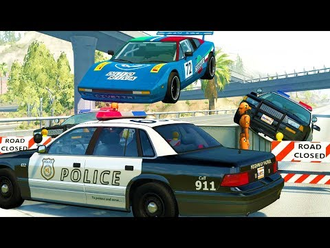HIGH SPEED HIGHWAY POLICE CHASES AND TAKEDOWNS! - BeamNG Drive Crash Test Compilation Gameplay