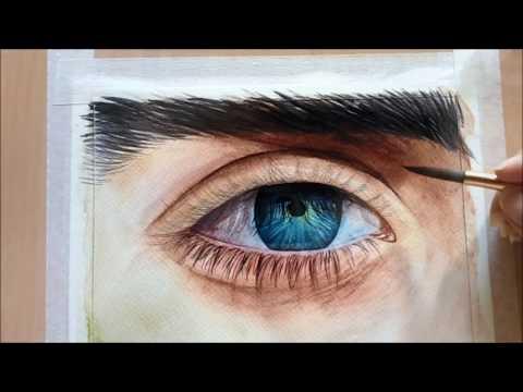 วาดภาพระบายสีน้ำดวงตา Eye water coloring