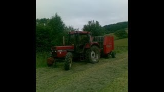 case ih 956 xl round baling silage with massey 822 baler part 1
