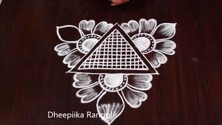 simple flower rangoli design without dots l Easy star kolam design l small daily muggulu