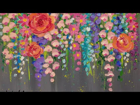 Paint Cotton Swab FLOWERS with Acrylics | Easy Step by Step LIVE Painting Tutorial for Beginners