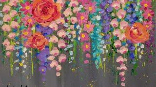 Akrilik boya ile Pamuklu Çubukla ÇİÇEKLER yeni Başlayanlar için Adım CANLI Resim Eğitimi Kolay Adımda |