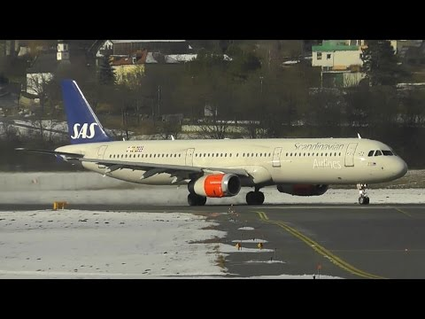 SAS Scandinavian Airlines Airbus A321-232 [LN-RKI] taxi and takeoff at Innsbruck airport