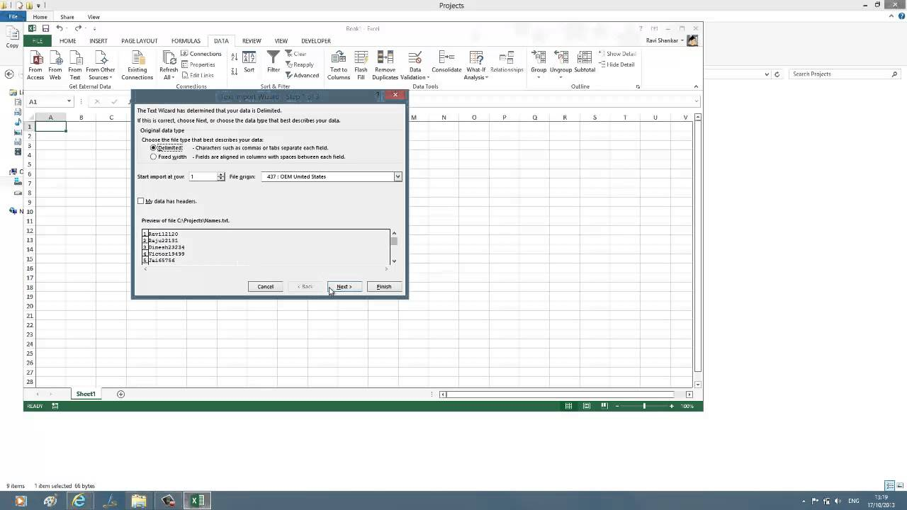 worksheet How To Ungroup Worksheets In Excel import data from text file in to worksheet excel 2013 youtube 2013