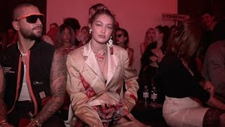 Gigi Hadid and more front row before the Heron Preston Fashion Show in Paris