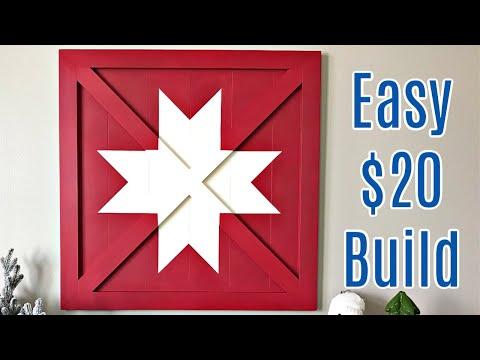 DIY Barn Star Wood Wall Art - Barn Quilt Woodworking Steps - Pottery Barn Knock Off