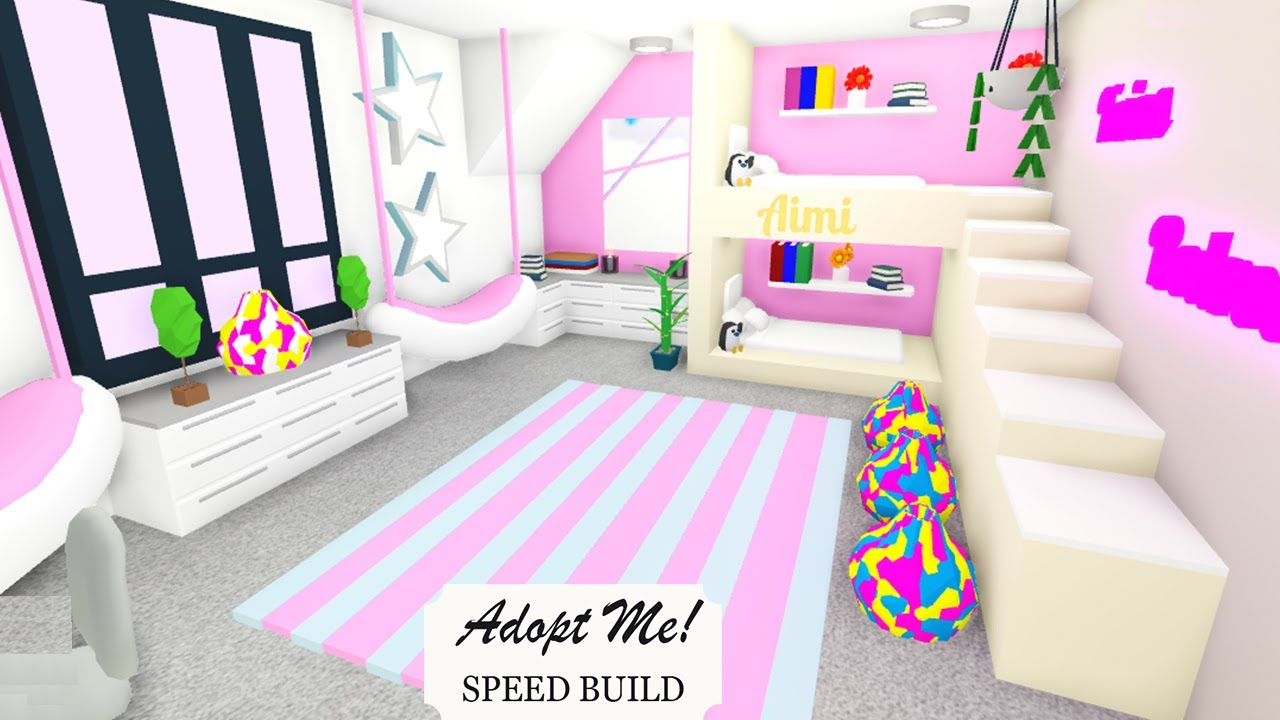 Aesthetic Twins Bedroom In Futuristic House Adopt Me Speed Build Youtube
