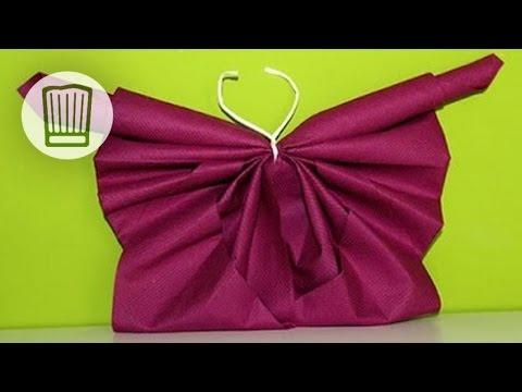 servietten falten der schmetterling fr hlingshafte tischdeko selber machen video. Black Bedroom Furniture Sets. Home Design Ideas