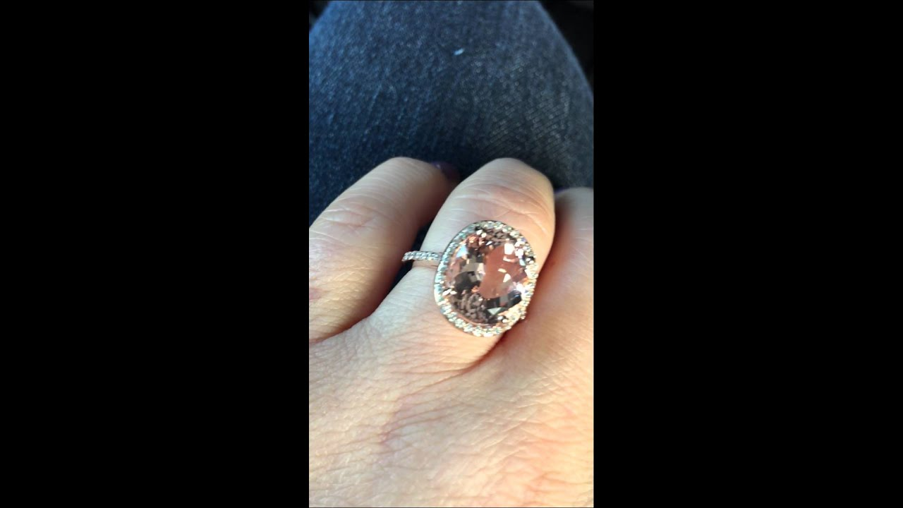 Oval Morganite Diamond Engagement Ring 14k Rose Gold Youtube