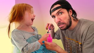 Adley Princess Makeover!! Surprise Dad with his FIRST manicure!