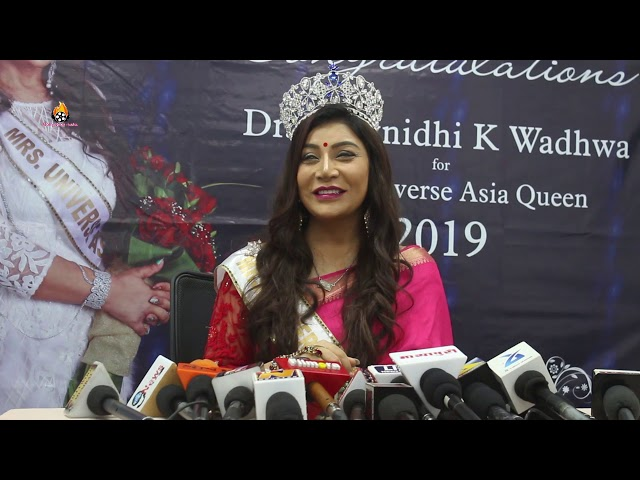 Blockbuster Welcome Of ''Dr Naavnidhi K Wdhwa'' After She Was Crowned, Mrs Universe Asia Queen 2019