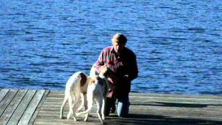 Jeff And Pups On Dock