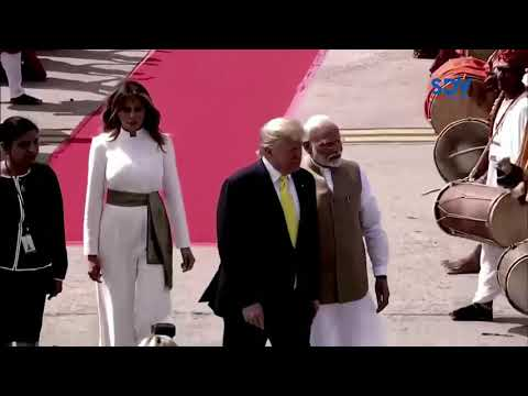 IT\'S A PARTY: Hundreds of thousands of Indians welcome US President Donald Trump on his first tour