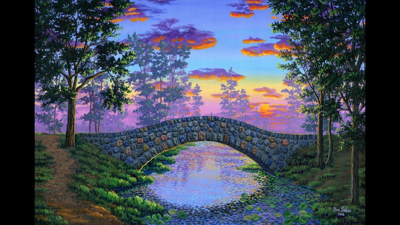 Cara Melukis Jembatan Batu Dengan Akrilik Di Atas Kanvas