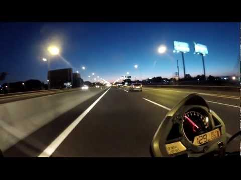 From Barajas Airport to Madrid city center by night (Honda Hornet + GoPro Hero 2)