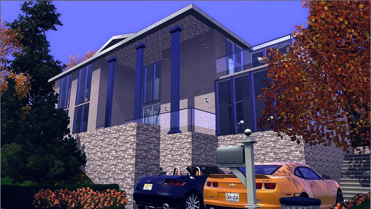 The sims 3 house simple modern family home youtube for Minimalist house the sims 3
