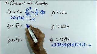 Maths Bar Questions short tricks | Mixed recurring decimals into vulgar fractions