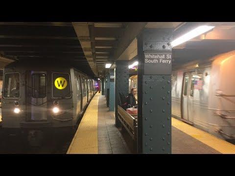 BMT/IRT Subway: (R) (W) and (1) Trains @ Whitehall Street-South Ferry (R46, R62/A, R68A, R160)