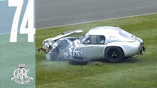 Dramatic AC Cobra crashes into tyre wall