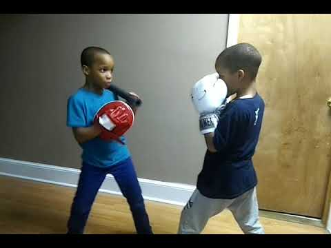 Twins teaching each other how to box  -  985095