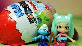 Smerfy u Shopkins - Kinder Niespodzianka Maxi & Shopkins - bajka po polsku