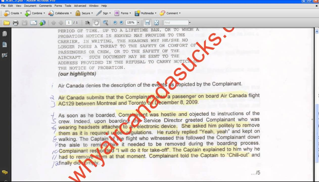 Part Air Canada The Outrageous Legal Documents Sent To The - Legal documents canada