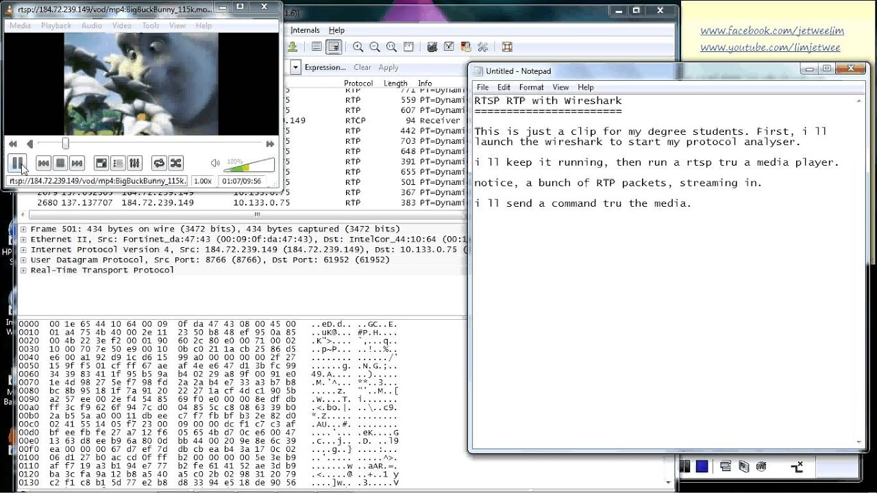 Real Time Streaming Protocol - RTP Analysis using Wireshark