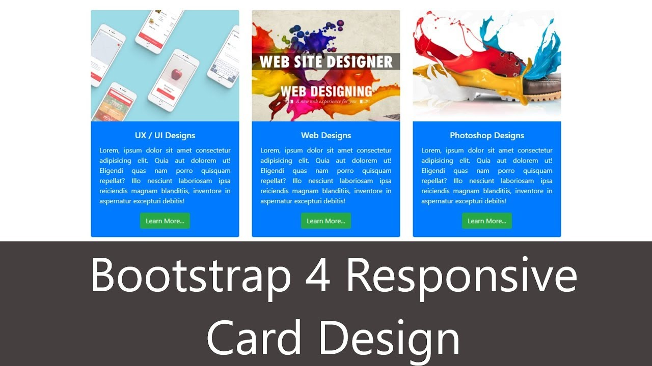 Bootstrap 4 Responsive Card Design in 5 minutes