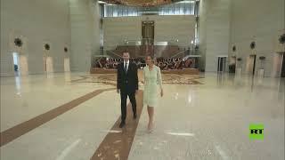 بشار الأسد يغادر قصر الشعب مع قرينته بعد كلمة له خلال مراسم أدائه اليمين الدستورية رئيسا لسوريا