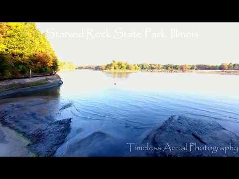 Starved Rock State Park, Illinois. Amazing waterfall Drone footage