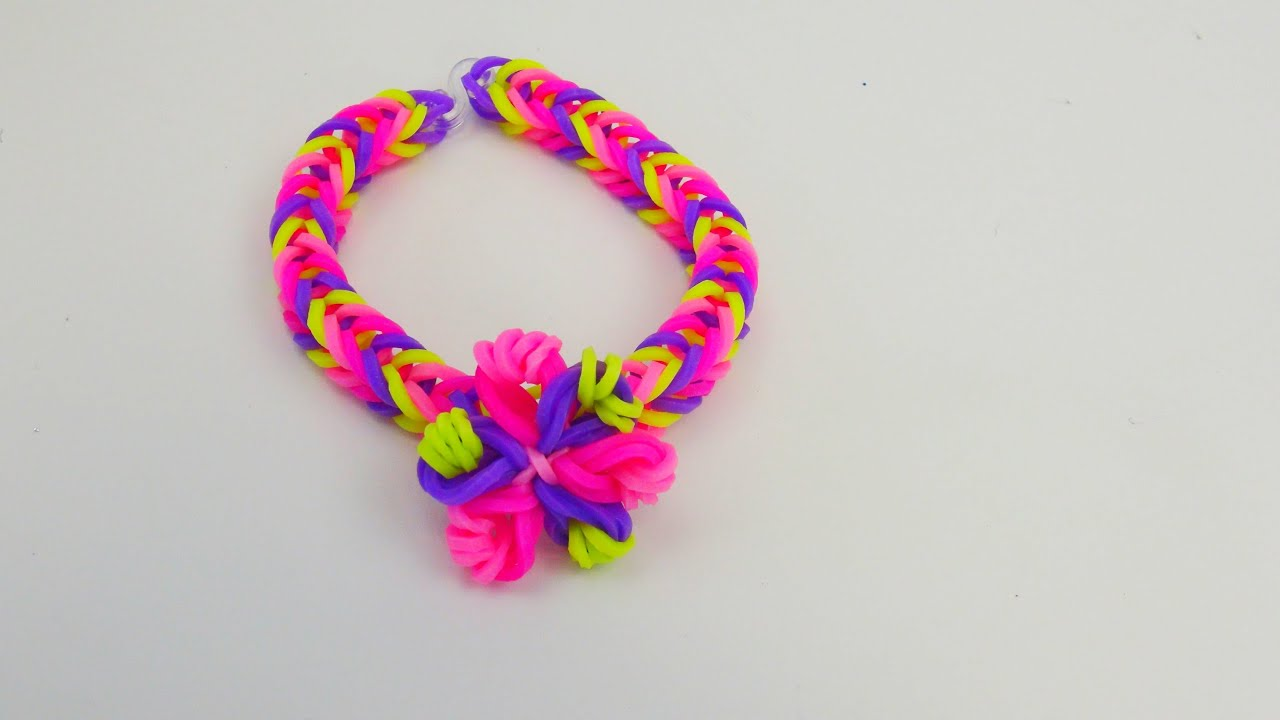 easy loom band flower bracelet fishtail mit blume armband tutorial deutsch youtube. Black Bedroom Furniture Sets. Home Design Ideas