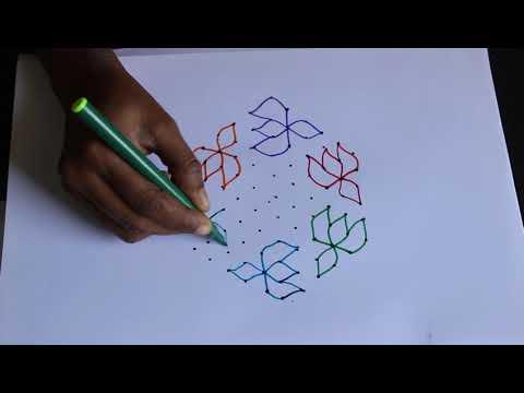 11x6 Middle Dots Muggulu | Rangoli designs | Kolam Designs By Suchi Planet