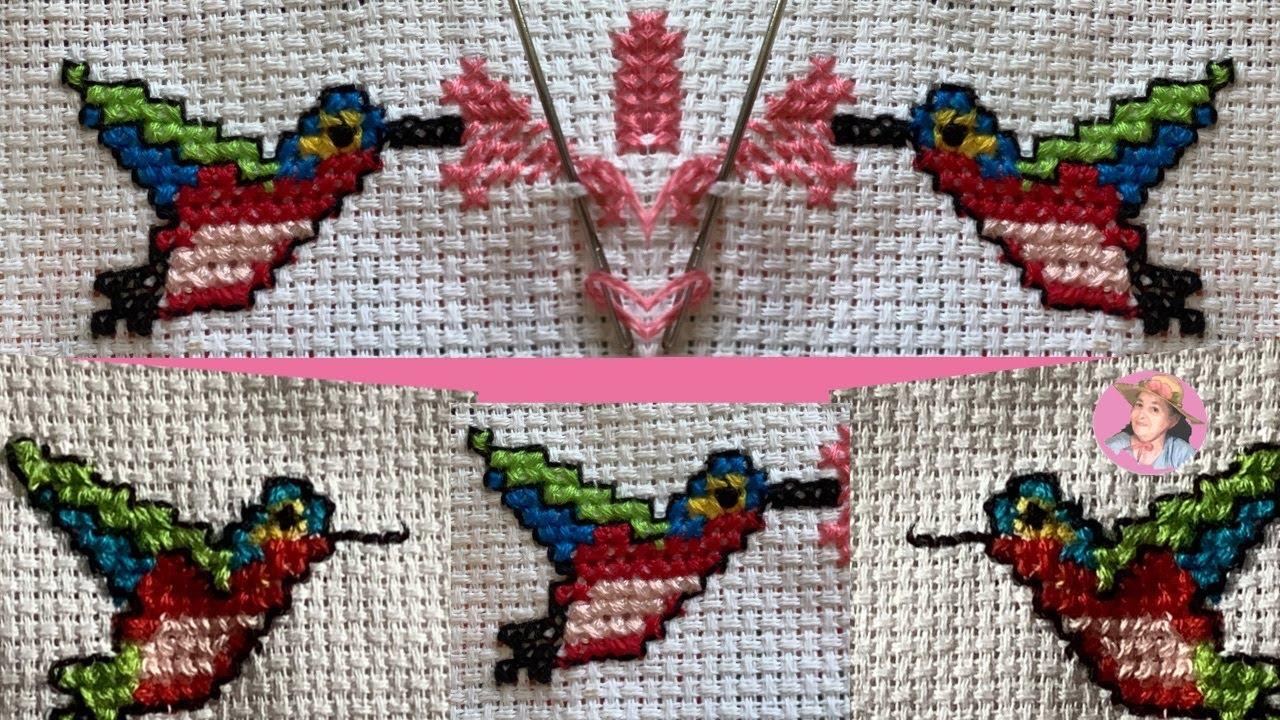 colibrí o chuparosa en punto de cruz chico paso a paso #497 - YouTube