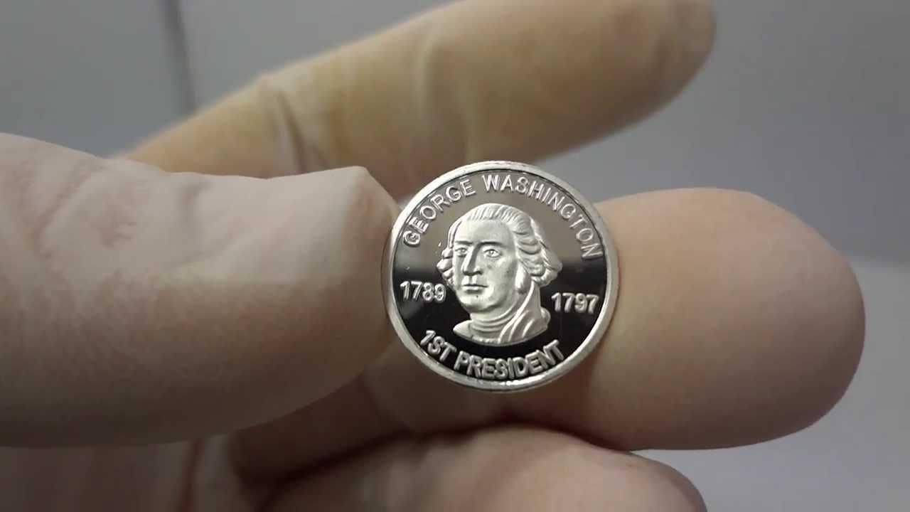 1 Gram Silver George Washington Bullion Round Coin 999 Fine By Atlantis Mint