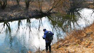 НАКОНЕЦ ТО весна Ловля щуки на малой реке весной Рыбалка на спиннинг в Подмосковье Март 2020