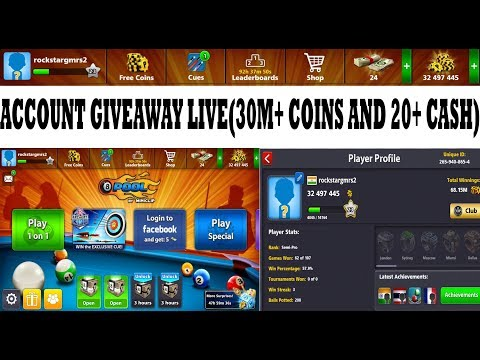 8 Ball Pool Live Account Giveaway (30M+ coins & 25+ cash) Rules in Discription