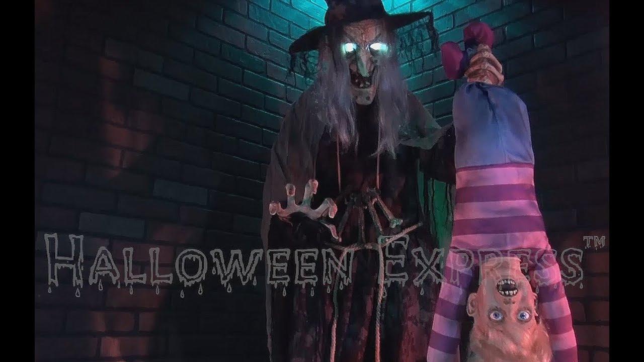 Life Size STEW BREW WITCH w// KID Animated Halloween Prop Decor-FREE FOG MACHINE