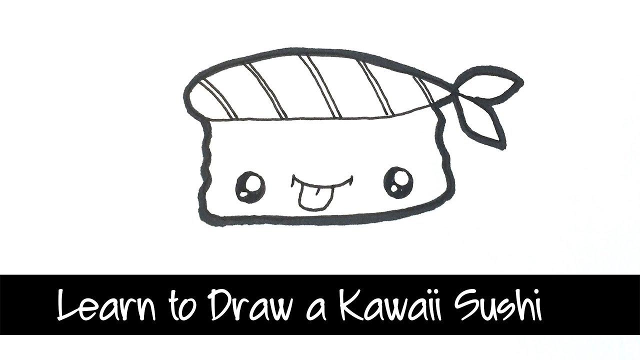 Learn To Draw Kawaii Sushi Quick And Easy Kawaii Food Drawing Youtube