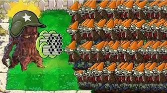 Plants vs Zombies - 1 Threepeater vs Gargantuar vs Dr. Zomboss