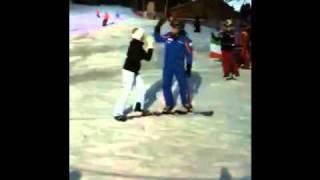 Alex VanKlaveren from Ski school Wilder Kaiser in St Yohann Austria takes Siobhan O'Connor from 98FM tandem snowboarding.
