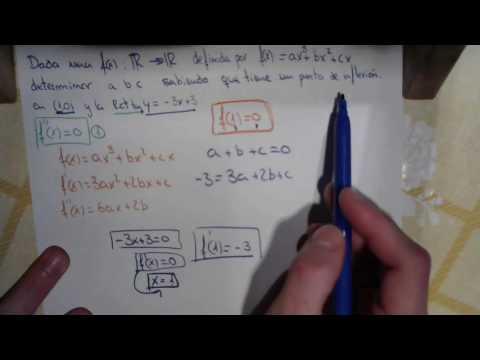 Dada f(x)=ax^3+bx^2+cx determinar a b y c teniendo un p de inflexión de (1,0) y la f'(x) y=-3x+3