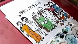 How to Draw Joint Family Poster Drawing for Kids